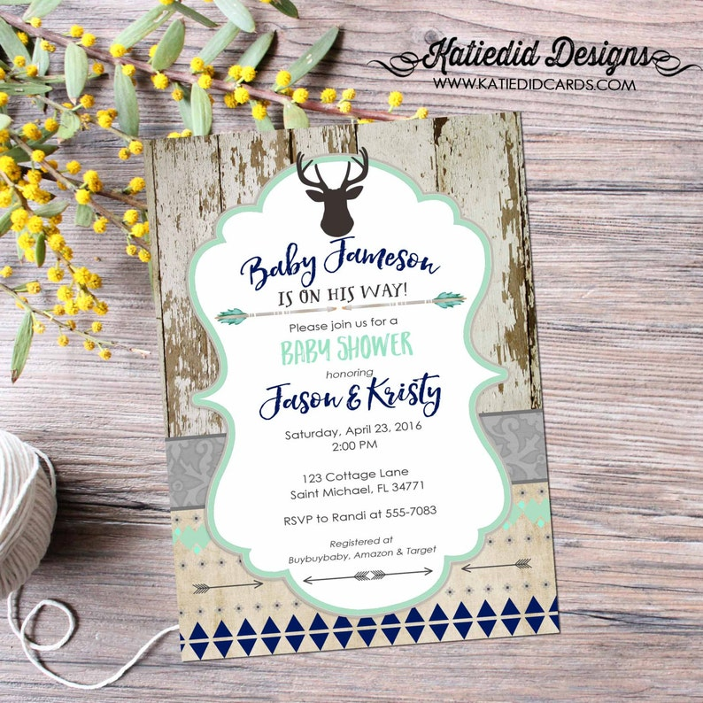Couple Shower Invitation Tribal Baby Shower Twin Boy Rustic image 0