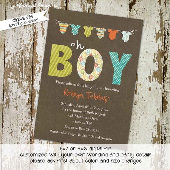 Couples baby shower invitation coed rustic onesie bunting banner oh boy sprinkle sip see diaper wipes brunch twins | 1284 Katiedid Design