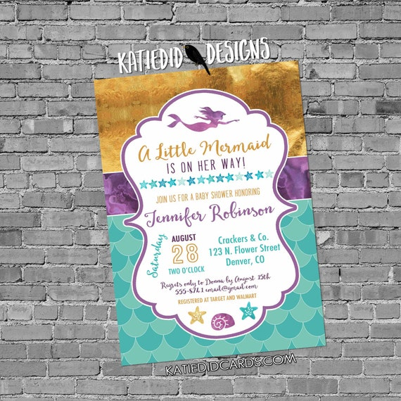 Mermaid invitation nautical couples baby shower Purple teal gold starfish seashell 1st birthday little coed sip see sprinkle | 1365 Katiedid