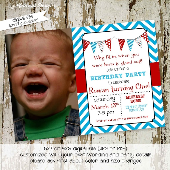 oh the places you'll go birthday invitation baby shower photo picture dr seuss red aqua adventure awaits baptism announcement | 285 Katiedid