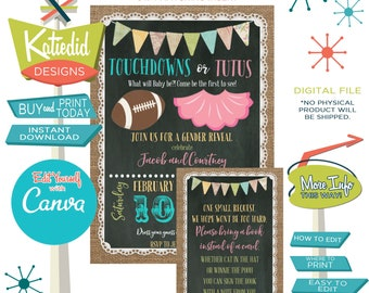 Touchdown or Tutu Gender Reveal Invitation or Twin Football Baby Shower, WITH Editable Bring a book insert | 1431 Katiedid