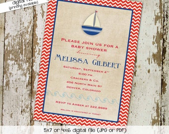 nautical baby shower invitation couples coed diaper wipes ahoy it's a boy sailboat red white blue sprinkle sip see | 1252 Katiedid Designs