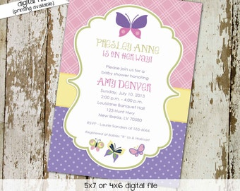 butterfly invitation couples baby shower girl coed diaper wipes brunch pink purple yellow baptism sprinkle sip see | 1357 Katiedid Designs