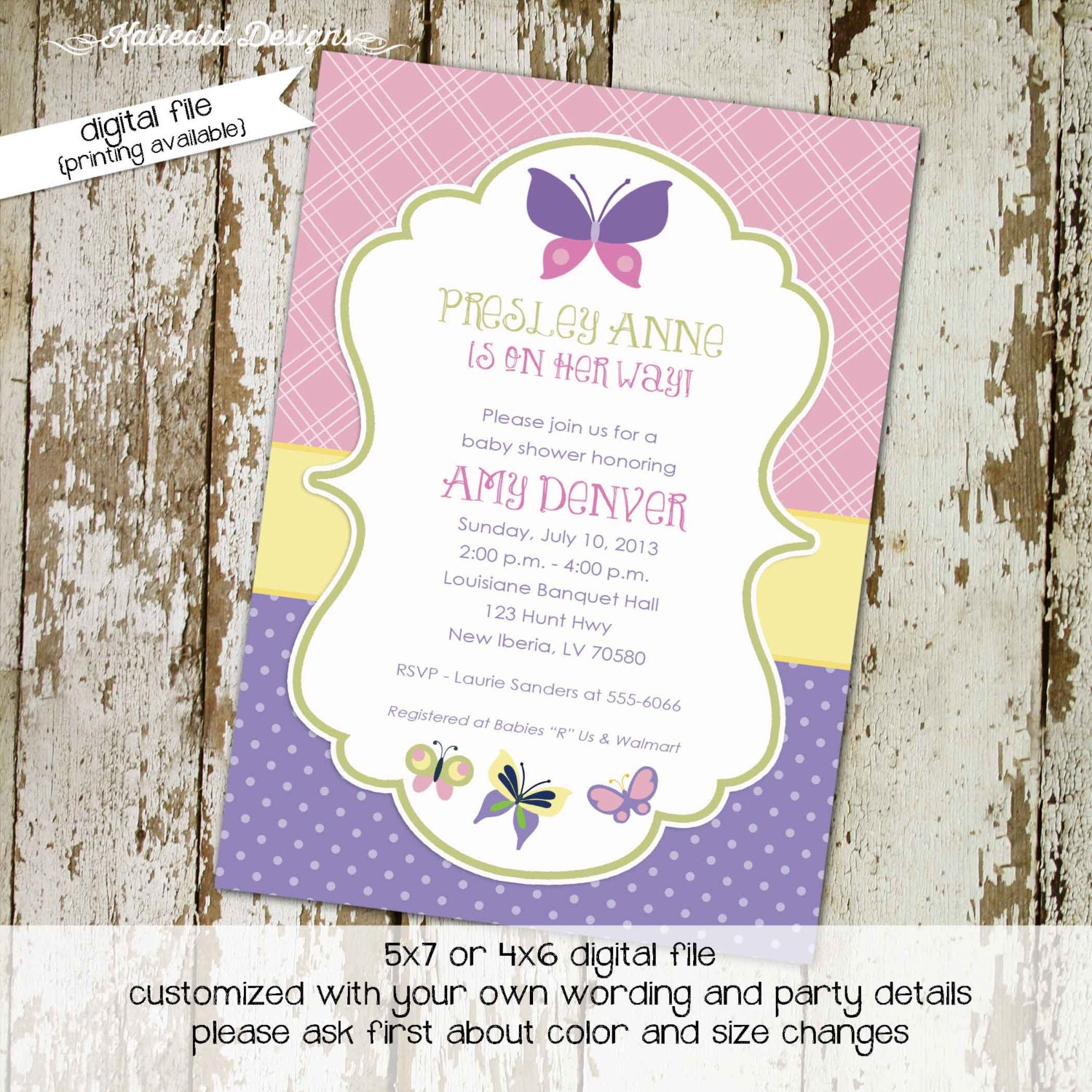 butterfly invitation couples baby shower girl coed diaper wipes ...
