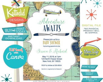 Adventure Awaits Baby Boy Shower Invitation with Vintage Airplane and Map, Edit for ANY Event | 1275 Katiedid Designs