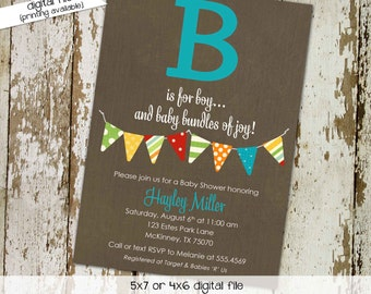 Couples baby shower invitation b is for boy bunting banner coed sprinkle sip see diaper wipes brunch birthday twins | 1268 Katiedid Designs