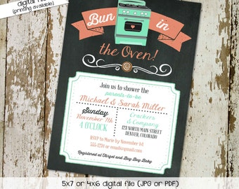 bun in the oven baby shower invitation gender reveal couples coed neutral mint coral chalkboard twins sprinkle sip see | 1418 Katiedid Cards