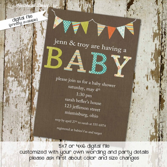 baby shower invitation gender neutral reveal couples coed diaper wipes brunch sprinkle sip see boy girl twins rustic | 1413 Katiedid Designs