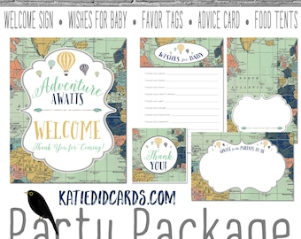 Adventure awaits hot air balloon Travel Theme oh the places you'll go baby shower world map party package gender reveal game   1466 Katiedid
