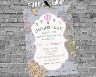 Adventure awaits Hot air balloon Travel theme baby shower invitation World map gender neutral reveal purple oh the places   1385 Katiedid
