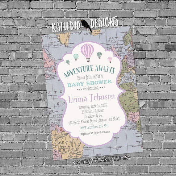 Adventure awaits Hot air balloon Travel theme baby shower invitation World map gender neutral reveal purple oh the places | 1385 Katiedid