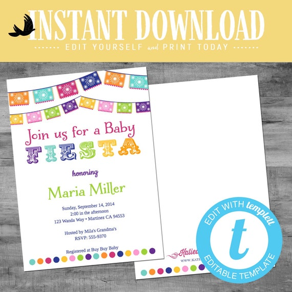 Fiesta gender reveal invitation baby shower cinco de mayo senor senorita sugar skull Papel Picado couples coed twin editable | 1401 Katiedid