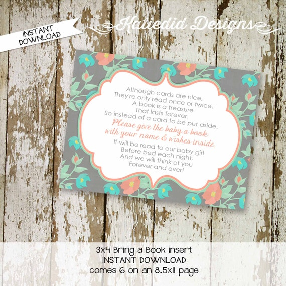 Bring a Book instead of a card enclosure card insert storybook theme library floral chic invite mint coral gray aqua 1335 katiedid designs