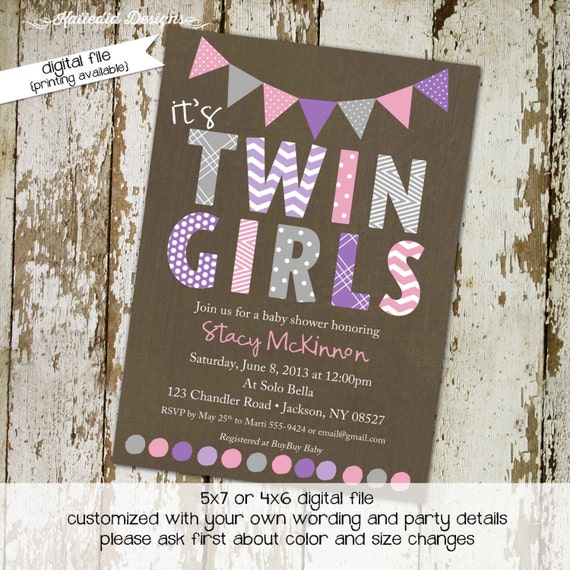 twins baby shower invitation couples coed diaper wipes pink purple gray girl sprinkle birthday sip see brunch tea party gay | 1518 Katiedid
