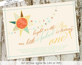 you are my sunshine birthday invitation brighter than the sun first communion baptism christening 1st baby boy twins   201 Katiedid Designs