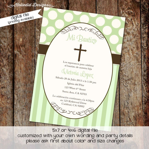 baptism invitation gender reveal first communion spanish christening announcement couples baby shower boy crucifix neutral | 707 katiedid