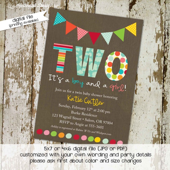 twin babies shower invitation surprise gender reveal co-ed baby shower diaper wipe brunch kraft paper rustic chic gay 156 Katiedid Designs
