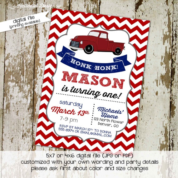 Vintage truck couples baby shower invitation coed boy patriotic red white blue chevron birthday retirement party 50th 60th 75 | 206 Katiedid