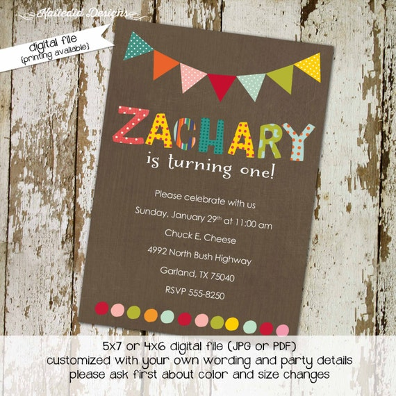 bunting banner circus boy birthday invitation baptism couples baby shower coed sprinkle sip see diaper wipes brunch | 228 Katiedid Designs