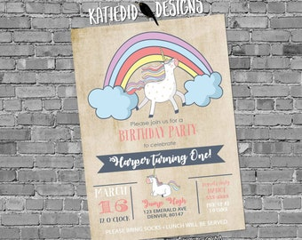 Unicorn birthday invitation baby shower rainbow little girl gender neutral reveal 1st first party couples sprinkle gay   2008 Katiedid Cards