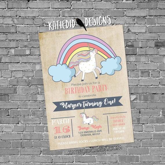 Unicorn birthday invitation baby shower rainbow little girl gender neutral reveal 1st first party couples sprinkle gay | 2008 Katiedid Cards