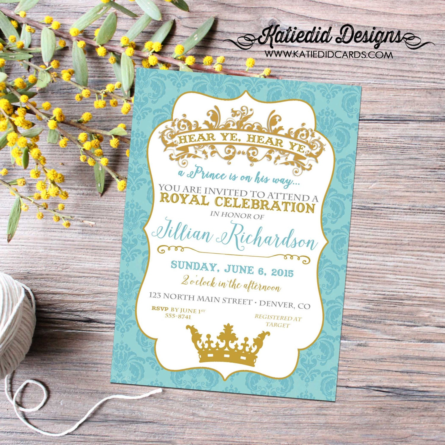little prince couples baby shower invitation birthday twins boy ...