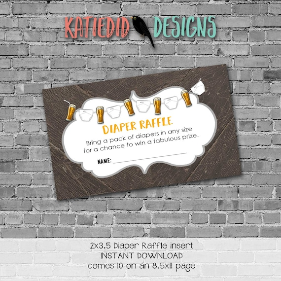 diaper beer rustic man couples wipes brunch coed baby shower raffle ticket insert enclosure card dad to be | 1493 Katiedid Designs