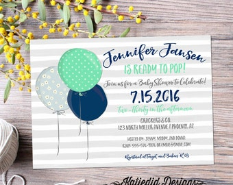 ready to pop baby shower invitation balloons gender reveal neutral boy coed diaper wipes brunch mint navy gray stripes   12118 Katiedid Card