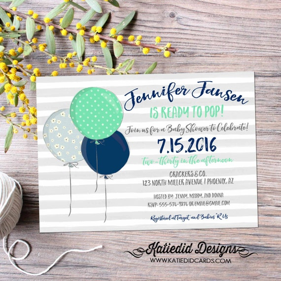 ready to pop baby shower invitation balloons gender reveal neutral boy coed diaper wipes brunch mint navy gray stripes | 12118 Katiedid Card