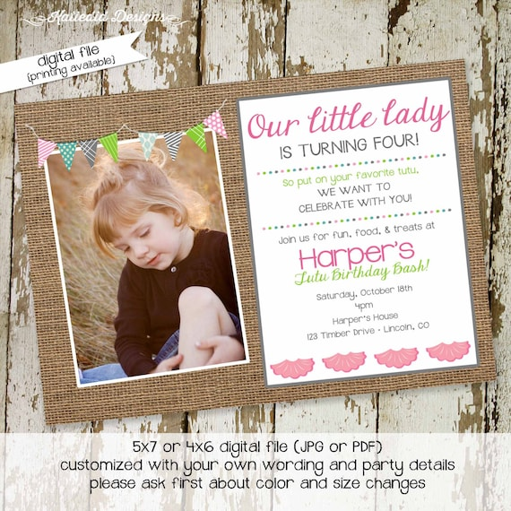 Tutu ballet birthday party invitation girl burlap bunting banner photo picture baby shower pregnancy announcement | 280 katiedid designs