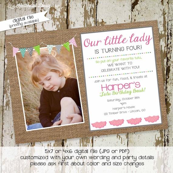 Tutu ballet birthday party invitation girl burlap bunting banner photo picture baby shower pregnancy announcement | 280 katiedid designs