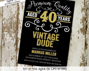 40th birthday invitation man adults only vintage dude beer mug poker whiskey 50th 60th 70th 75th retirement party   274 Katiedid Designs