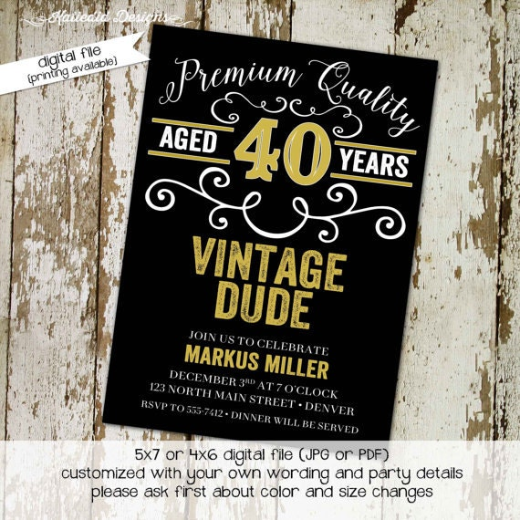 40th Birthday Invitation Man Adults Only Vintage Dude Beer Mug Poker
