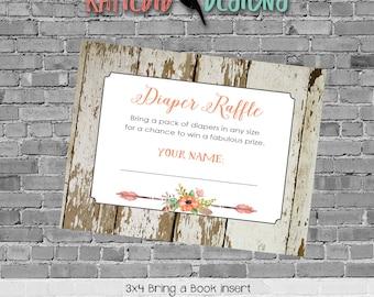 rustic baby girl shower invitation mint coral boho baby shower tribal arrow Diaper raffle ticket insert enclosure card 1445 Katiedid Designs