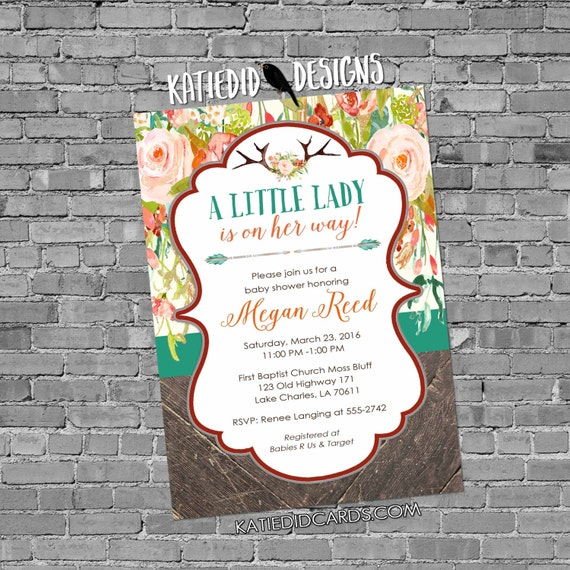 deer baby shower invitation girl boho woodland tribal floral little antlers couples coed sprinkle baptism birthday | 1318 katiedid designs