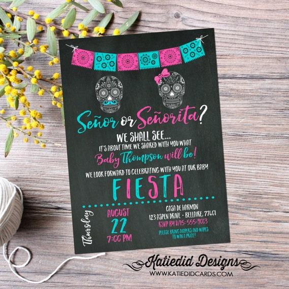 Fiesta gender reveal invitation baby shower cinco de mayo senor senorita sugar skull Papel Picado couples coed twin mexican | 1461 Katiedid