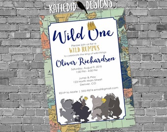 wild one two where the things are adventure awaits travel theme birthday invitation boy rumpus couple baby shower king crown   2011 Katiedid