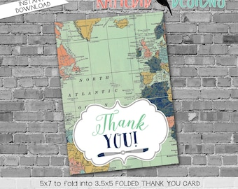 Travel Themed Invitation oh the places you'll go baby shower Adventure Awaits airplane world map tribal THANK YOU CARD 12124 Katiedid Design
