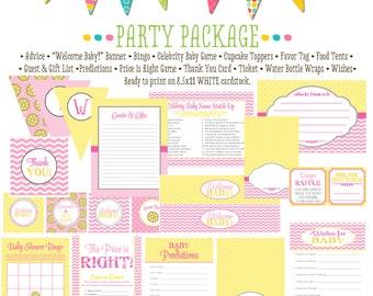 rustic baby girl shower invitation diaper wipe brunch pink yellow chevron polka dots sunshine lemonade party package 1354 Katiedid Designs