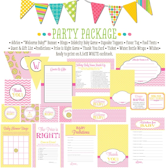 rustic baby girl shower invitation diaper wipe brunch pink yellow chevron polka dots sunshine lemonade party package 1354 Katiedid Designs