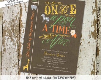 Once upon a time storybook couples baby shower invitation sprinkle sip see elephant lion giraffe library card book cover   12103 Katiedid