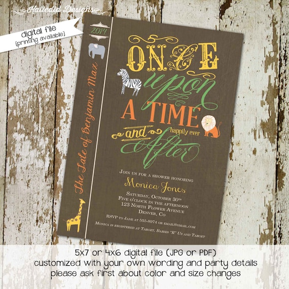 Once upon a time storybook couples baby shower invitation sprinkle sip see elephant lion giraffe library card book cover | 12103 Katiedid
