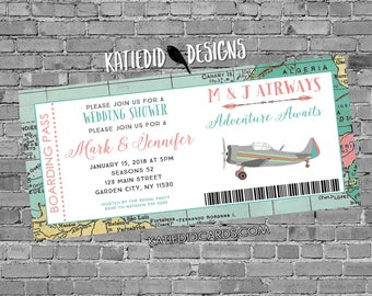 Boarding pass wedding invitation Adventure awaits Travel Theme Miss to Mrs save the date postcard vintage airplane   371 katiedid designs