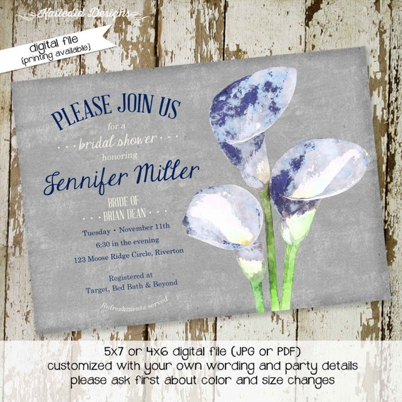 Couples shower Invitation rehearsal dinner coed floral lily I do BBQ engagement party stock bar after party blue gray | 306 Katiedid Designs