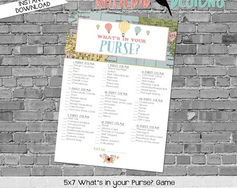 Adventure Awaits hot air balloon gender reveal party game What's in your purse baby shower Travel Theme neutral world map | 1455 Katiedid