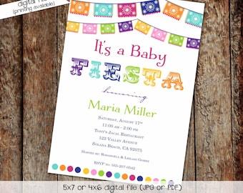 Cinco de Mayo Gender reveal fiesta invitation couples baby shower twins papel picado taco bout baby | 1401 Katiedid Designs