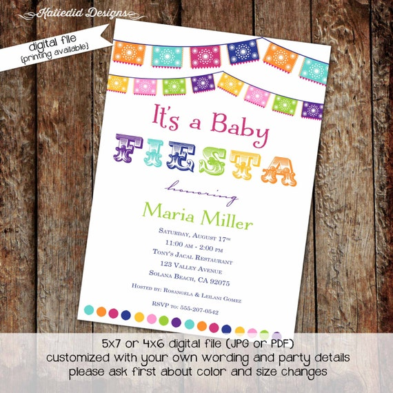 fiesta invitation couples baby shower gender reveal neutral twins papel picado mexican party rehearsal dinner rainbow coed | 1401 katiedid