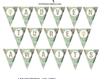 World map baby shower Travel Themed invitation Hot air balloon Adventure Awaits Tribal bunting triangle banner pendant 1466 Katiedid Designs