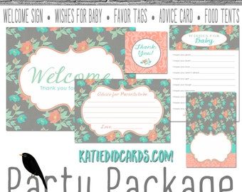 mint coral invite floral chic baby shower shabby chic it's a girl party package welcome sign wishes for baby favor tag 1335 Katiedid Cards