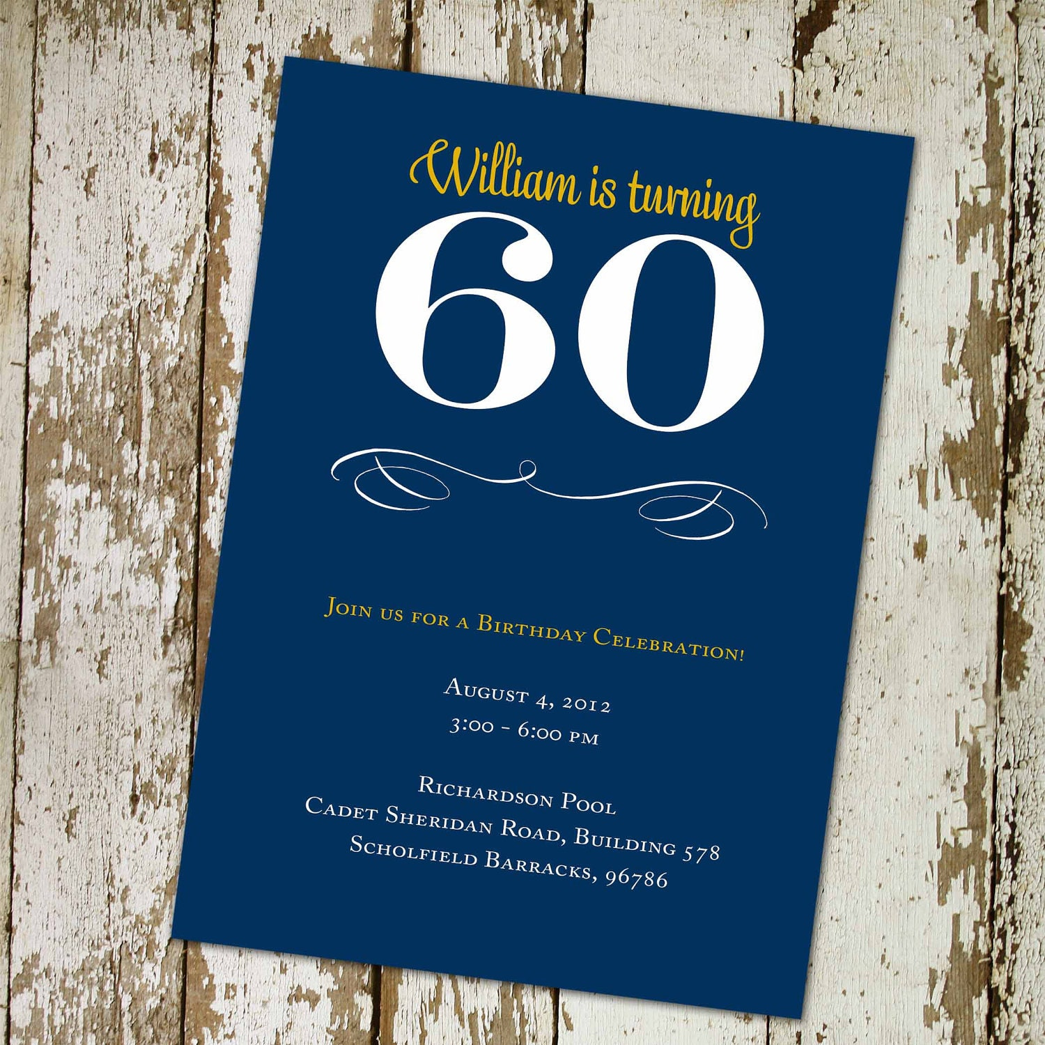 60th Birthday Invitations Memorial Announcement 40th Man Adults